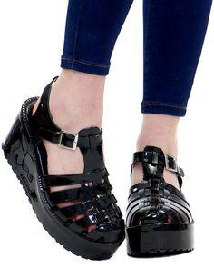 don't be jelly black platform sandal at shopjeen.com!