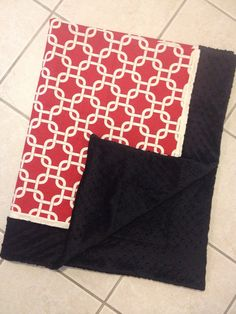 Baby blanket dark red and tan with black minky dot
