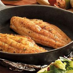Skillet-Grilled Catfish Recipe -You can use this recipe with any thick fish fillet, but I suggest catfish or haddock. The Cajun flavor is great! —Traci Wynne, Denver, Pennsylvania Source by Iron Skillet Recipes, Cast Iron Recipes, Skillet Meals, Fish Dishes, Seafood Dishes, Seafood Recipes, Cooking Recipes, Cajun Recipes, Sausage Recipes