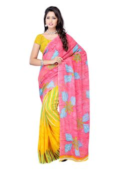 Petra #Fab Pink Colored Georgette Printed #Saree Redefine your style statement this season, acquire the beauty that you were longing to have. Elegance has gone no where, its right infront of you - grab it and wrap yourself in this enchanting attire that is sure to cater real spell of elegance.  @aimdeals