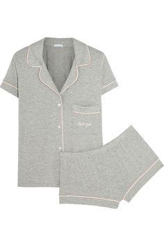 Eberjey | Gisele embroidered stretch-jersey pajama set | NET-A-PORTER.COM