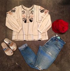 Ulla Johnson Flora blouse |Pomanders scarf (in store only) | Re/done high rise destroyed  Pedro Garcia Iphigenia sandal