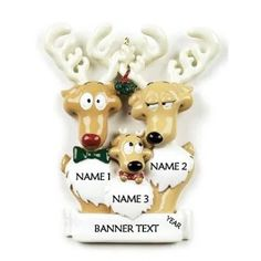 The Holiday Aisle Reindeer Family of Three Personalized Hanging Figurine Ornament Customize: Yes Family Ornament, Ornament Box, Dog Ornaments, Christmas Ornament Sets, Candy Cane Christmas Tree, 1st Christmas, Christmas Crafts, Personalized Ornaments, Personalized Christmas Ornaments