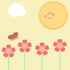 Sunshine and Flowers Clip Art - Sunshine and Flowers Image