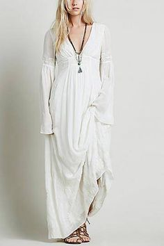 Deep V Neck Maxi Dress with Floral Embroidery Details - US$49.95 -YOINS