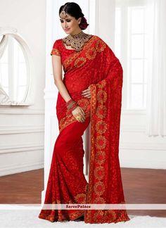 Exotic Red Stone Work Faux Chiffon Saree