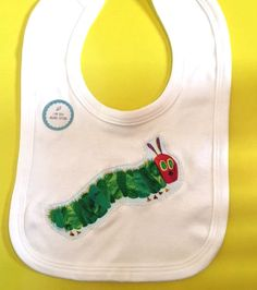 Organic Hungry Caterpillar appliqué bib-Organic by DollyOliveShop Unique Baby Gifts, Hungry Caterpillar, Applique, Organic, Very Hungry Caterpillar