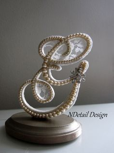 Cake Topper Monogram Pearl Lace and Rhinestone by NDetailDesign, $105.99