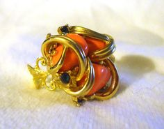 Gold Filigree  and Coral Stone Vintage Button  Ring by MissKnits