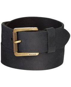 This belt from Tommy Hilfiger has a black leather finish for rugged outfits. | Leather | Spot clean | Imported | Tommy Hilfiger men's belt | Prong buckle with engraved logo detail | Width: 38mm | Web