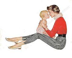 Vintage ilustración retra madre e hijo, mediados siglo moda descarga digital