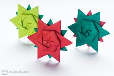 Sweet little origami star made from a single sheet of paper, design by Peter Keller. See more pictures and learn how to fold!