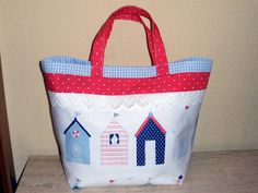 Baby in Toile de Jouy: Tutorial: Bolsa de tela con casetas de playa