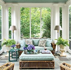 Elegant colonial porch from Southern Living.   With its natural palette, the bluestone floor blends right in with its outdoor surroundings. Plus, it stays cool in the summer and lasts forever. Keeping all of the furniture the same style allows its defining lines to have a stronger impact in the small space.   http://www.southernliving.com/home-garden/gardens/front-back-screen-porch-patio/elegant-colonial-porch