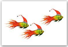 Christmas fish cards. Original artwork.10 per box. by ShirleyBell