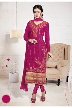 Women beauty is magnified tenfold in this sort of a hot pink cotton churidar suit. The interesting embroidered, lace and resham work a considerable attribute of this attire. Comes with matching bottom. Beautiful Pakistani Dresses, Pakistani Dresses Online, Pakistani Outfits, Indian Outfits, Pakistani Salwar Kameez, Churidar Suits, Anarkali, Indian Bridal Wear, Indian Ethnic Wear