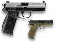 FNX™-45 - Hands down my favorite semi-auto pistol. Single/Double action trigger makes any 1911 fan feel right at home. 15+1 rounds of .45 ACP? Yes please. It fits my oversized hands like a glove and eats any ammo I feed it. Considered Springfield, meh. There's a reason FNH provides so many firearms to our military. They are the best.