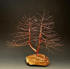 Wire Tree Sculpture Sculpture - Hand Twisted Copper Wire Tree Sculpture - 2188 - Free Shipping by Omer Huremovic