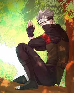 Kakashi sitting on the tree Kakashi Hokage, Naruto Shippuden Sasuke, Anime Naruto, Naruto And Sasuke, Boruto, M Anime, Kakashi Sensei, Naruto Cute, Sakura And Sasuke