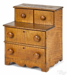 Miniature Pennsylvania tiger maple dresser, late 19th c.