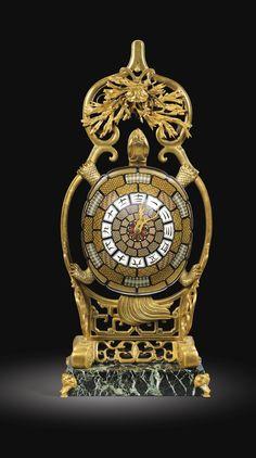 """A """"JAPONAISE"""" GILT-BRONZE AND ENAMEL TURTLE-FORM CLOCK, ALMOST CERTAINLY DESIGNED BY EMILE-AUGUSTE REIBER FOR L'ESCALIER DE CRISTAL, PARIS, CIRCA 1870-80"""