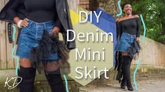DIY DENIM MINI SKIRT FROM OLD PANTS | Beginner Friendly