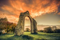 At the back of Wymondham Abbey in Norfolk are some ruins from an old part of the Abbey. This archway stands intact and almost looks like a gateway to another world with the fiery sunrise behind it! Norfolk England, Sunset Images, Spring Sign, Yesterday And Today, Us Images, Sunrises, Cathedrals, Fine Art Gallery, Wonderful Places