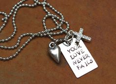 Your Love Never Fails Hand Stamped Christian by CreationsbyKelseyy, $16.00