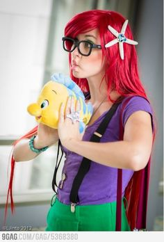 Walt Disney's Flounder and The Hipster Little Mermaid (Ariel)