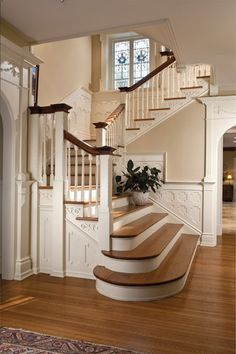 The staircase at Estalena, a recently restored 1896 Georgian stone home in Haverford. (More photos below.)