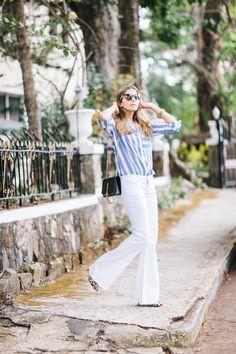 bc886a7a54 Maristella Gonzalez from A Constellation Blog wears a Zara stripe shirt