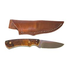 MK Norm Larson Handmade Spalted Birch Knife with Leather Sheath