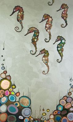 """""""Seahorses on Celery Green"""" stretched canvas wall art by Eli Halpin for GreenBox Art + Culture $189 #HPMKT #2013"""