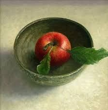 """""""Bowl with apple"""" By Jos van Riswick, from Netherlands - oil painting -"""