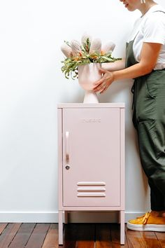 Mustard Made Locker - The Shorty Blush – norsu interiors Mustard Bedding, Metal Lockers, Vintage Lockers, Industrial Design Furniture, Inside Doors, Neat And Tidy, Loft Style, Sweet Home, Furniture Projects