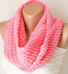 Infinity Scarf Loop Scarf Circle Scarf Winter Cowl  Pink by Periay, $28.00