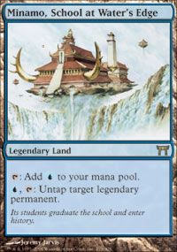 Minamo, School at Water's Edge is a power house. Most likely we will use it to untap one of our legendary lands to multiply our mana, but even when mana multiplication isn't available it is pretty much an island, so it has no downside.