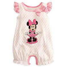 Disney Minnie Mouse Romper for Baby | Disney StoreMinnie Mouse Romper for Baby - A bashful Minnie curtseys on the front of this soft organic cotton romper. Your little one will look every bit as cute when spotted wearing this polka dot outfit, with its ruffled bustle, flutter sleeves, and bow.