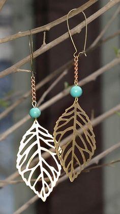 Boho Leaves Earrings. Bronze Finished Leaf Dangles