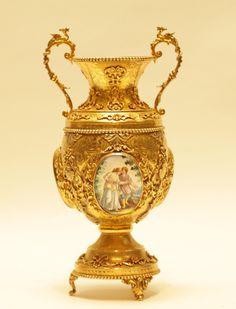 Lot 041 S56 - Gilt Silver Vase w/ Porcelain - Est. $1500-2000 - Antique Reader