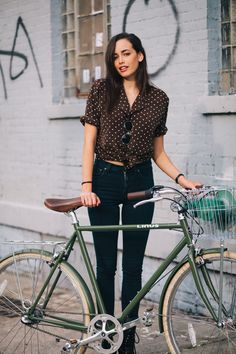 """preferredmode:  Sarah  rides a Linus Roadster 3-speed bicyclephotographed at N. 1st St. and Berry St.returning home from a…  View Post   """