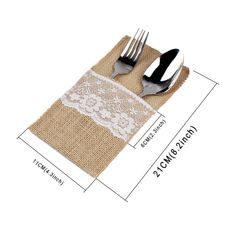 """5pcs Vintage Shabby Chic Jute Burlap Lace Tableware Pouch Packaging Fork & Knife Burlap Holder Cutlery Pocket 4""""x8"""""""