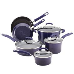Shop a great selection of Rachael Ray 12800 Brights Nonstick Cookware Pots Pans Set, 10 Piece, Purple Gradient. Find new offer and Similar products for Rachael Ray 12800 Brights Nonstick Cookware Pots Pans Set, 10 Piece, Purple Gradient. Enamel Cookware, Cookware Set, Burnt Food, Three Beans, Purple Kitchen, Rainbow Kitchen, Red Kitchen, Pots And Pans Sets, Pan Set