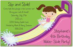 Kids Pool Birthday Party Invitations, Waterslide Girl, 19300