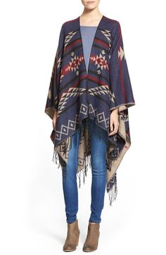 I love ponchos.  BP. Reversible Geometric Pattern Poncho available at #Nordstrom
