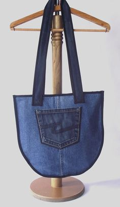 FREE SHIPPING Denim Tote Bag Hand Bag Patchwork by duduhandmade, $32.00