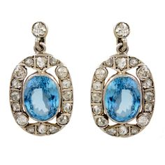 Antique Diamond and Aquamarine Drop Earrings | From a unique collection of vintage drop earrings at http://www.1stdibs.com/jewelry/earrings/drop-earrings/