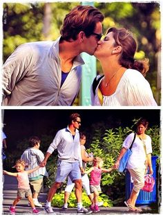 Roger Federer and Mirka Federer kissing each other at New York city