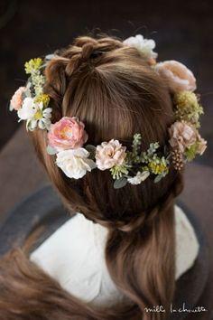 サーモンピンクラナンキュラスとローズのヘッドドレス 花冠 corolla#garland#wreath