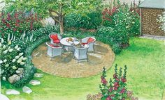 Gartengestaltung für Romantiker: ein Sitzplatz auf Natursteinpflaster mit einem Kirschbaum der Schatten spendet